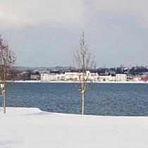 Winter am Bodensee: Sonne und Schnee am Strandbad Bregenz