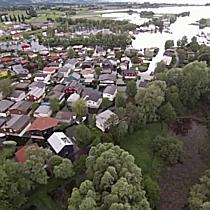 Luftaufnahmen vom Hochwasser in Fussach