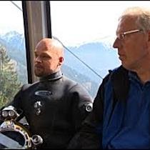 Us dr Gondel mit den Bodenseetauchern Günther Dietz und Michael Ristock