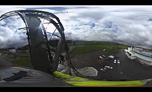 Mit der 360°-Kamera auf dem Strommast
