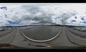 360-Grad-Video: Hochwasser des Rhein bei Fußach