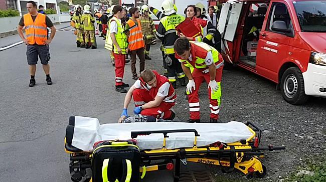 Feuerwehr-Einsatzübung an der Landesberufsschule Feldkirch