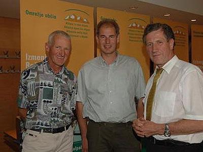 Ernst Bickel, Mitglied im Naturschutzrat, Josef Türtscher, Agrarsprecher im Vlbg. Landtag, und Landesrat Erich Schwärzler