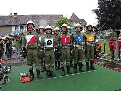 """Die Bezirkskommandogruppe Dornbirn vor dem Antritt: """"Wasser marsch!""""."""