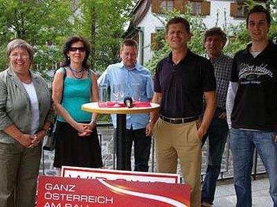 Ilse Mock, Christine Kieber, Thomas Schwarz, Horst Lumper, Markus Burtscher, un Christian Neyer (v. l.).
