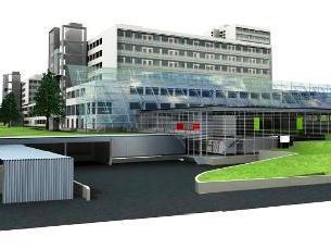 Das Modellbild der neuen Küche mit Versorgungstrakt des LKH.
