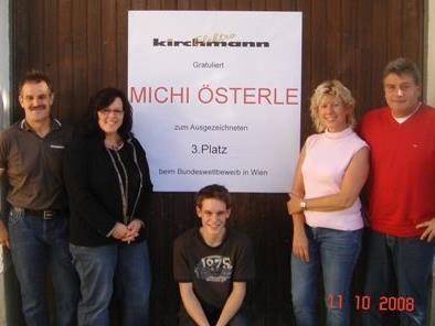 Michael Österle auf Podestplatz;Walter und Monika Österle, Michael Österle und Inka und Arthur Kirchmann.