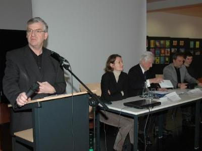 : vlnr: Prof. Wolfgang Türtscher, Dr. Martina Büchel-Germann, Dr. Wolfgang Wollte, Dir. Mag. Klemens Voit, Pascal Veron