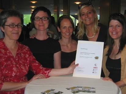 Das ÖKOPROFIT-Team vom aha (v.li.: Veronika Drexel, Carola Vuissa, Yvonne Schmid, Projektleiterin Edith Bregant-Scheier, Susanne Flatz)