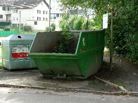 Der Grünmüllcontainer war zu hoch und schwer zugänglich.