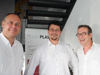 TP-GF Ingo Schobel, Referent Marcus Unger, TECNOPLAST-Gründer Frank Böhler