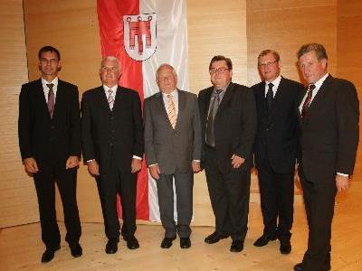 Jakob Greber, Adolf Fetz und Franz Wolf wurden für ihre Verdienste in der Gemeinde Schwarzenberg ausgezeichnet.