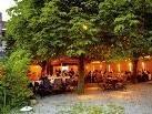Der Gastgarten des GH Adler, wie er im Prospekt der Stadt Hohenems zu sehen ist.