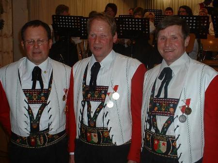 Jubilare Heinz Feuerstein, Siegfried Staggl und Wilhelm Jochum vom Musikverein Schröcken