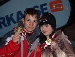 Die Rodel-Landesmeister 2010: Marvin Müller und Melina Heinzelmaier.