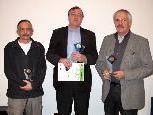 auf dem Filmerpodest: Wolfgang Tschallener, Sieger Ferdi Mähr und Ralf Klossner