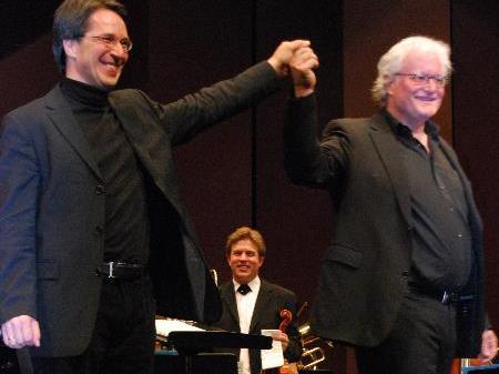Strahlende Musiker – Walter Kirchmair und Guntram Simma.