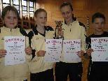 Bronze bei der VBV Schüler Mannschafts-LM: Julian Nenning, Janine Lais, Chiara List, Pascal Keck.