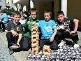 Denize, Ahmed, Hidi und Adem hatten großen Spaß beim Turmbauen
