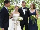 Das Brautpaar mit den Trauzeugen in Bildstein.