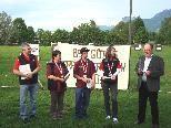 Ewald Kühne, Regina Angerer, Chris Kessler und Sandra Mathis mit Bürgermeister Werner Huber