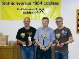 Siegerfoto mit Peter Mittelberger (Vereinsmeister), Dietmar Heilinger (Turniersieger) und Reinhard Forster, von links.