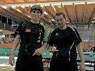 Bernhard Piltsz von der SportvereinigungTyrol mit Rainer Hartmann TCCC Raiba Frastanz