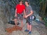 Martin und Thaddeus kommen sehr gerne zum Klettern nach Nofels