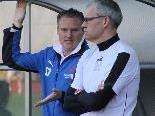 Feldkirch Trainer Klaus Stocker und Tormanncoach Thomas Schneider freuen sich auf den Hit.