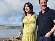 David Cameron mit seiner schwangeren Frau Samantha