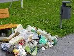Gesammelter Müll aus der Umgebung neben leerem Mülleimer