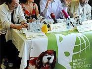 Karikaturist Manfred Deix, Schauspielerin Krista Stadler, MUT-Obmann Ralph Chaloupek und Kammersänger Heinz Holecek bei der Pressekonferenz.