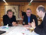 Bürgermeister Markus Linhart, der städtische Personalchef Franz Plavec und der Leiter der Dienststelle Umwelt, Gerold Ender, diskutieren die Bregenzer Energiestrategien.