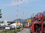 """Der Verkehrsstau zwischen """"Engel-Kreisverkehr"""" und Rheinbrücke nach Au (St. Gallen) ist für die Bevölkerung unerträglich."""