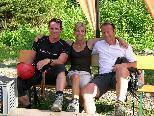 Philipp Jelinek, Anita Wachter, Rainer Salzgeber vor dem Flug mit dem Flying Fox am Golm