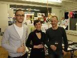 Christian Feurstein (li.) Roswitha Natter und Björn Matt luden zur Eröffnung ihrer Büroräumlichkeiten.