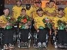 Überglückliche Helden des Sport: Wolfgang Wimmer, Thomas Bechter, Jürgen Egle und Philipp Bonadimann.