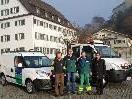 Bauhofleiter Wilfried Amann,  Bauhofleiter Stv. Lukas Kleinfercher, Alfons Lampert und Bgm Ing. Martin Summer, mit den beiden neuen Fahrzeugen.