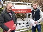 Organisator Robert Lins und Markus Markstaler vom Energieteam freuen sich über viele innovative Ideen bei der Gestaltung des Trafohauses