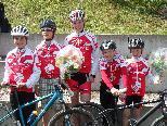 Die erfolgreichen Mountainbiker Kilian, Luca, Pauline, Benedikt, Kilian