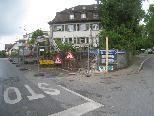 Bauarbeiten im Bereich Einmündung Alberlochstraße/Hofriedenstraße im Lochauer Zentrum.
