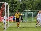 Das 1:0 für Viktoria Bregenz in Minute 40, exakt unter die Latte geköpfelt.