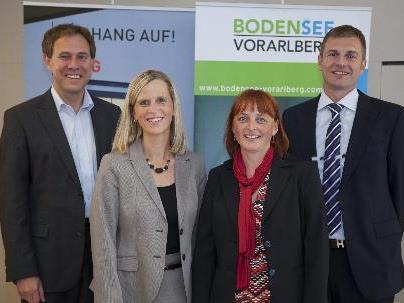 Mag. Christian Schützinger, Geschäftesführer Vorarlberg Tourismus; Birgit Sauter und Birgit Dünser, Geschäftsführerinnen Bodensee-Vorarlberg Tourismus; Dr. Thomas Deigendesch