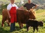Obmann Stefan Nußbaumer und Wendl Hammerer (l.) präsentieren beim Hoffest auf dem Galgen auch den Verein der Hochlandrinderzüchter.