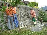 Spezialisten von Wilhelm & Mayer und die Mtarbeiter des Bauhofes kümmern sich um die langfristige  Erhaltung der Mauern