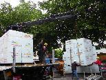 Hunderte Kubikmeter Dämmmaterial wurden angeliefert