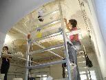"""Im Feldkircher """"Ochsen"""" erhalten die Bezirksanwälte ein neues Heim, einen Raum ziert eine Stuckdecke die gerade restauriert wird."""