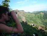 Auf der Alpe hat der Hirte mit dem Fernglas seine Tiere im Blickfeld.