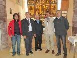 Von links: Bgm. Thomas Zudrell, Altbgm. Willy Säly, Pfarrer Bitschnau, Prof.Dr. Klaus Oeggl, LR Sigi Stemer