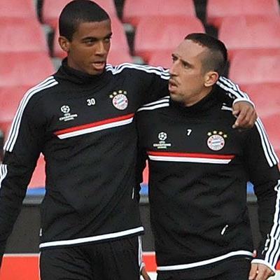 Gustavo und Ribery vor dem CL-Spiel gegen Napoli.